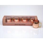 Jodhpuri 2 oz. Moscow Mule Copper Shot Mug w/ Brass Handle (Set of 4)