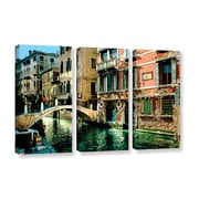 ArtWall Venice Canal by George Zucconi 3 Piece Gallery-Wrapped Canvas Set