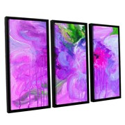 ArtWall Purple Pink Flowers by Svetlana Novikova 3 Piece Painting Print on Framed Canvas Set