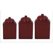 HiEnd Accents Savannah 3-Piece Canister Set; Red