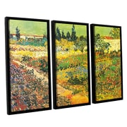 ArtWall Flowering Garden by Vincent Van Gogh 3 Piece Framed Painting Print on Canvas Set