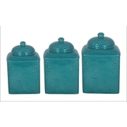 HiEnd Accents Savannah 3-Piece Canister Set; Turquoise