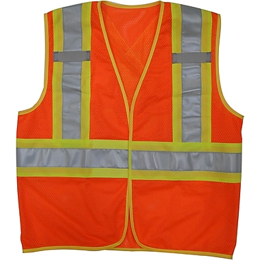 Open Road Hi-Viz Mesh Safety Vest, Small/Medium, Fluorescent Orange, 25 Pack