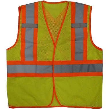 Open Road Hi-Viz Mesh Safety Vest, Small/Medium, Fluorescent Green, 25 Pack