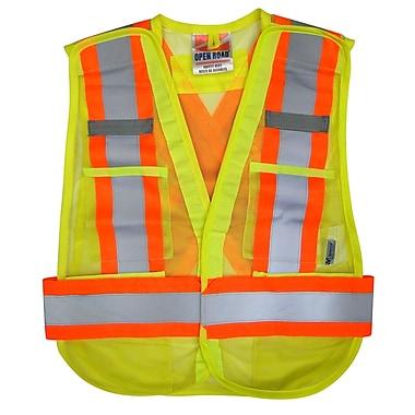 Open Road Hi-Viz 5pt. Tear Away Safety Mesh Vest, One Size Fits All, Green 3 Pack