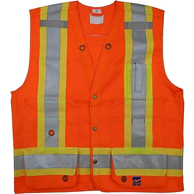 Open Road Surveyor Safety Vest, 4X-Large, Fluorescent Orange