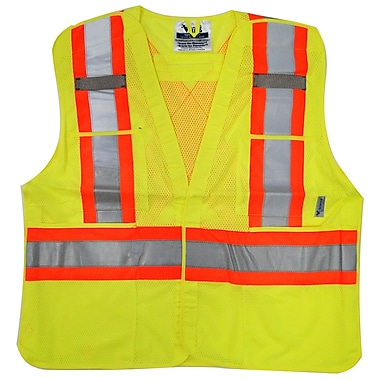 Viking Hi-Viz Mesh 5pt. Tear Away Safety Vest, Large/X-Large, Fluorescent Green, 3 Pack