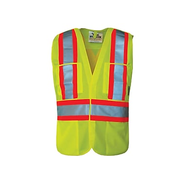Viking Hi-Viz Non-Mesh 5pt. Tear Away Safety Vest, Large/X-Large, Fluorescent Green, 3 Pack