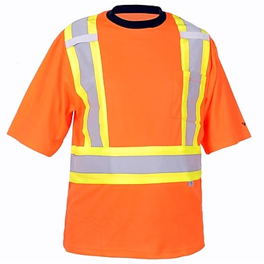 Viking Cotton Lined Safety T-Shirt with UPF50+ Rating, Large, Fluorescent Orange