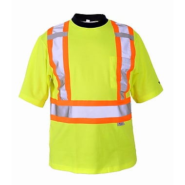 Viking Cotton Lined Safety T-Shirt with UPF50+ Rating, 2X-Large, Fluorescent Green