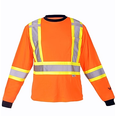 Viking Cotton Lined Long Sleeve Safety Shirt with UPF50+ Rating, Large, Fluorescent Orange