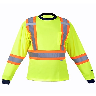 Viking Cotton Lined Long Sleeve Safety Shirt with UPF50+ Rating, Large, Fluorescent Green