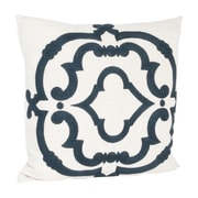 Saro Rue Serret Embroidered Design Throw Pillow; Navy Blue