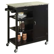 InRoom Designs Kitchen Island with Marble Top; Black