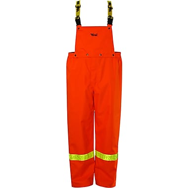 Viking Journeyman 300D Trilobal Rip-Stop Bib Pant with Safety Striping, Large, Orange