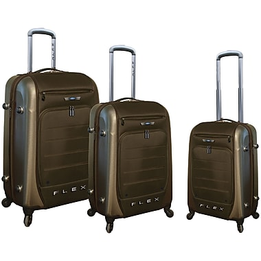 Ford Ford Flex Series 3 Piece Expandable Hybrid Luggage Set; Brown