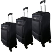McBrine Luggage Nadia 3 Piece Luggage Set; Black