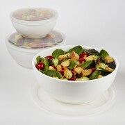 Fit & Fresh 3-Piece Serving Bowl Set; White