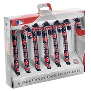 Forever Collectibles MLB Candy Cane Ornaments (Set of 6); Boston Red Sox
