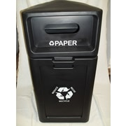 Forte Product Solutions 42-Gal Hooded Top Recycling Bin; Black