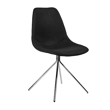 Kanto Artika Wool Side Chairs with Chrome Legs, Black, Set of 4