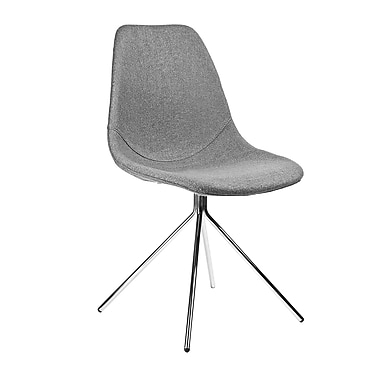 Kanto Artika Wool Side Chairs with Chrome Legs, Grey, Set of 4