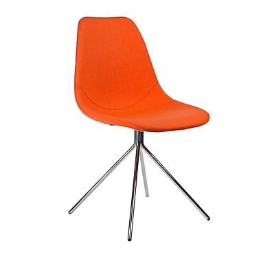 Kanto Artika Wool Side Chairs with Chrome Legs, Orange, Set of 4