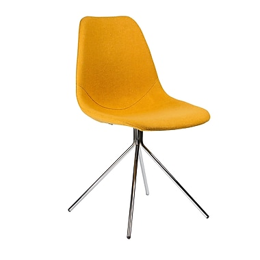 Kanto Artika Wool Side Chairs with Chrome Legs, Yellow, Set of 4