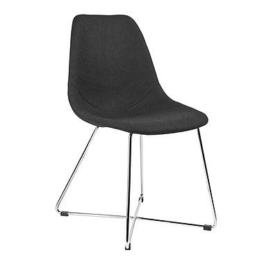 Kanto Artika-X Wool Side Chairs with Chrome Base, Black, Set of 4
