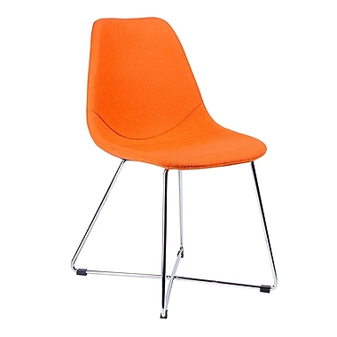 Kanto Artika-X Wool Side Chairs with Chrome Base, Orange, Set of 4