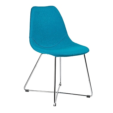 Kanto Artika-X Wool Side Chairs with Chrome Base, Teal, Set of 4