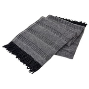 Creswick All-Natural Alpaca / Wool Fringed Throw; Combo Black