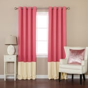 Best Home Fashion, Inc. Colorblock Thermal Insulated Grommet Top Blackout Curtain Panels (Set of 2)