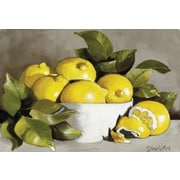 Magic Slice Lemons in a White Bowl by Diana Watson Non-Slip Flexible Cutting Board
