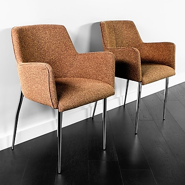 Kanto Palma Four Wool Arm Chairs with Chrome Legs, Set of 2