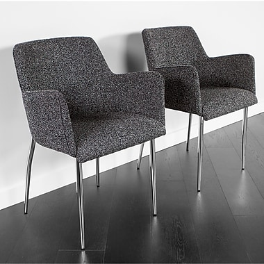 Kanto Palma Four Wool Arm Chairs with Chrome Legs, Grey, Set of 2