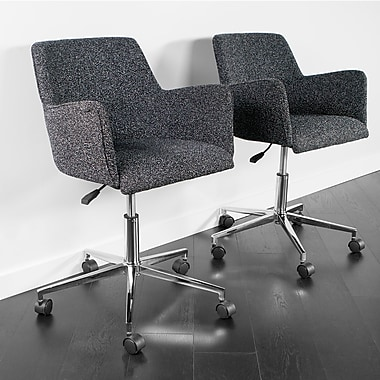 Kanto Palma Star Wool Task Chair with Chrome Base and Wheels, Grey