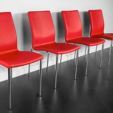 Kanto Salina Faux Leather Side Chairs with Chrome Legs, Red, Set of 4