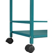 Altra Furniture Marshall 3-Shelf Metal Rolling Utility Cart, Teal (7741396PCOM)