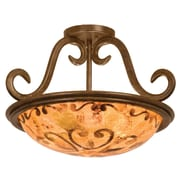 Kalco Santa Barbara 3 Light Semi Flush Mount; Art Nouveau Penshell