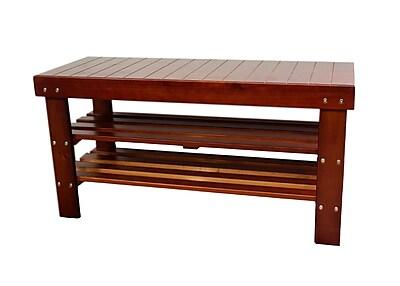 ORE Furniture Wood Storage Entryway Bench; Walnut