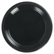 "HUHTAMAKI FOODSERVICE Plastic Round Plate 10.25"", Black"