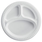 HUHTAMAKI FOODSERVICE 3 Compartments Heavyweight Plates, White