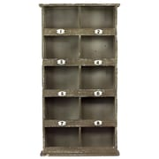 Urban Trends Wood Wall Mail Organizer with 8 Numbered Shelves and 2 Shelves Weathered Wood Finish
