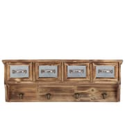 Urban Trends Wooden Cabinet 4 Drawers and 4 Hooks Natural Wood Finish