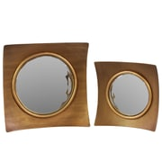 Urban Trends Wood Mirror with Concave Wooden Frame Antique Gold Set of Two Antique Gold (Set of 2)