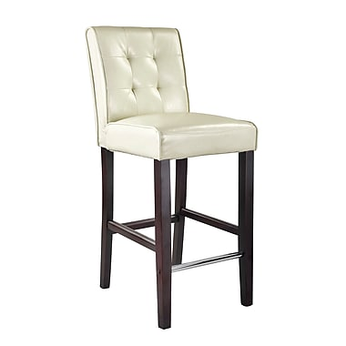 CorLiving DAD-413-B Antonio Bar Height Barstool, Bonded Leather, Cream White