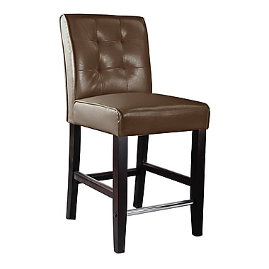 CorLiving DAD-484-B Antonio Counter Height Barstool, Bonded Leather, Dark Brown