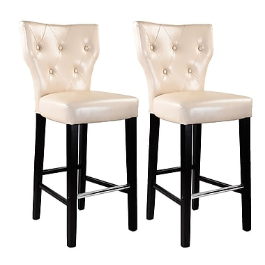CorLiving DAD-719-B Kings Bar Height Barstool, Bonded Leather, Cream, 2/Pack
