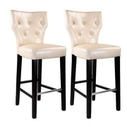 CorLiving™ Kings Bonded Leather Bar Height Barstool, Cream
